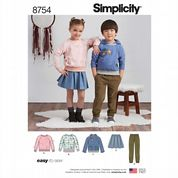 8754 Simplicity Pattern: Child's Trousers, Skirt and Knit Sweatshirt
